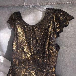 Golden lace calf length formal evening dress